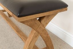 Country Oak 1.6m Cross Leg Dark Brown Leather American Oak Indoor Wooden Dining