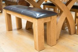 Country Oak Brown Leather Indoor Dining Bench
