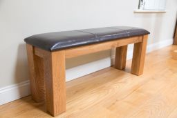 150cm Solid Oak Brown Leather Bench