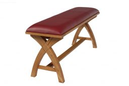 Red Leather Dining Bench 120cm Cross Leg Country Oak Design