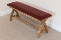 Red Leather Bench 160cm Country Oak Bench Cross Legs