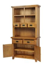 Country Oak Small 100cm Buffet & Hutch Display Cabinet
