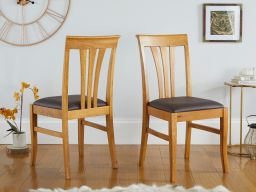 Victoria Oak Dining Chairs with Brown Leather Pad