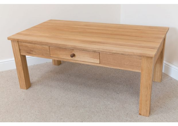 Baltic 120cm x 65cm x 50cm Solid Oak Coffee Table With Drawer