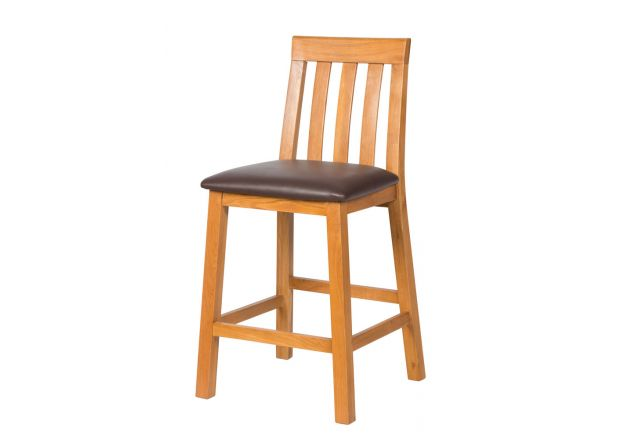 Billy Gigante Large Oak Bar Stool with Brown Pad