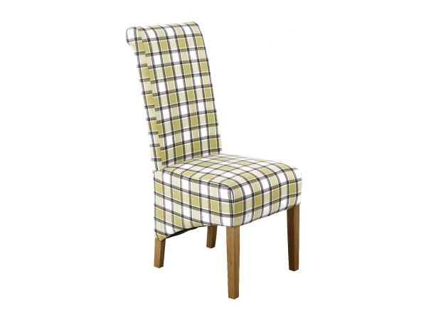 Chesterfield Check Green Herringbone Fabric Dining Chair with Oak Legs