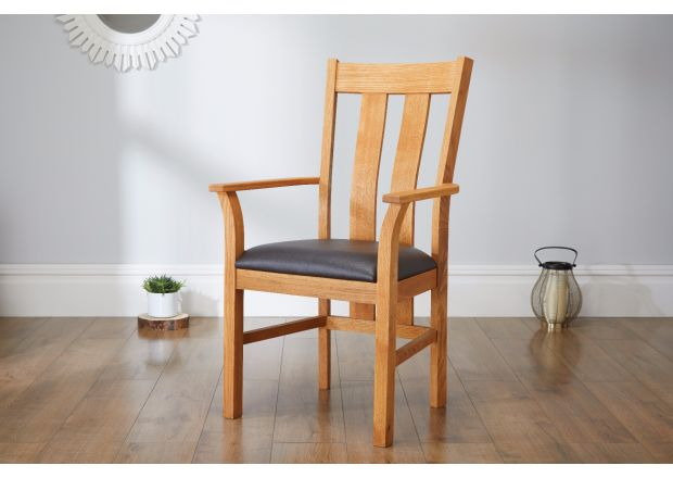 Churchill Brown Leather Oak Carver Dining Chair - SUMMER SALE