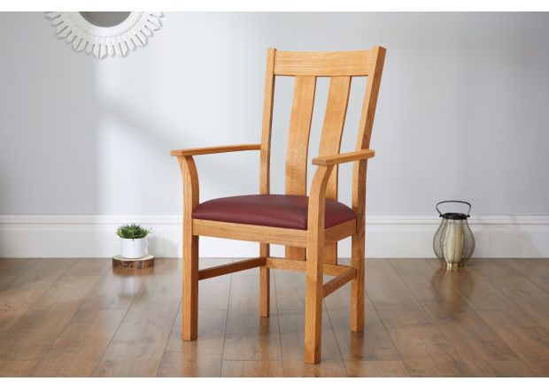 Churchill Red Leather Oak Carver Dining Chair - SUMMER SALE