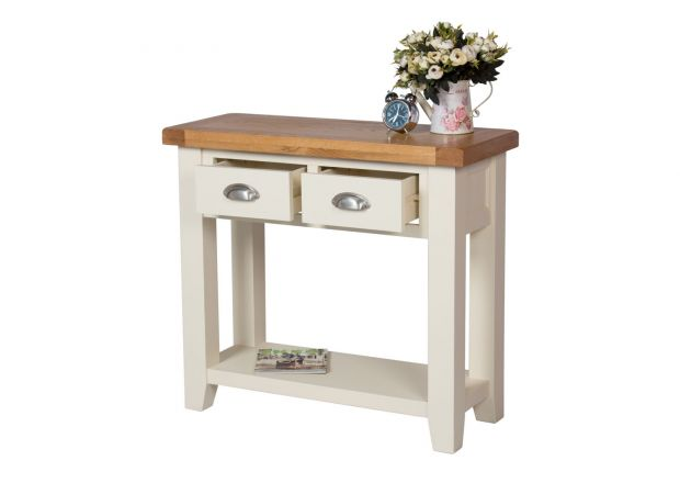 Country Cottage Cream Painted 2 Drawer Console Table - SUMMER SALE