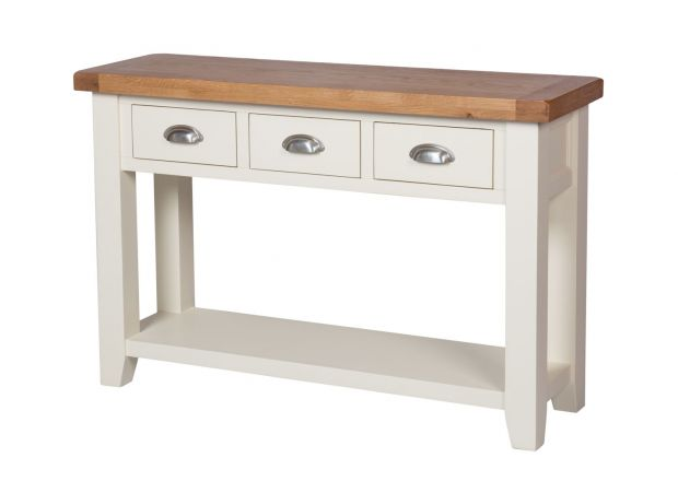 Country Cottage Cream Painted 3 Drawer Console Table - SUMMER SALE