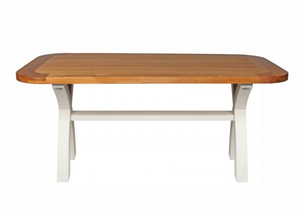 Country Oak 180cm Cream Painted Cross Leg Dining Table Oval Corners - NEW