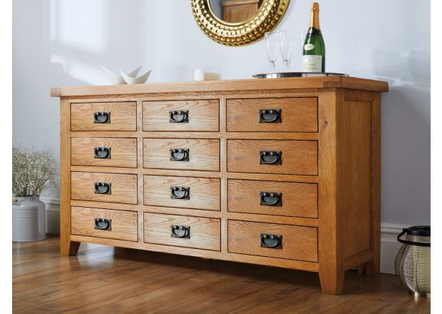 Country Oak Large 12 Drawer Merchant Chest / Sideboard Storage Unit - SUMMER SALE