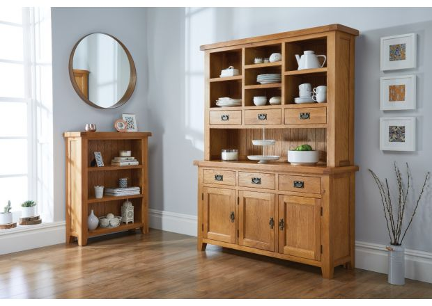 Country Oak Small 100cm Buffet and Hutch Display Cabinet Dresser