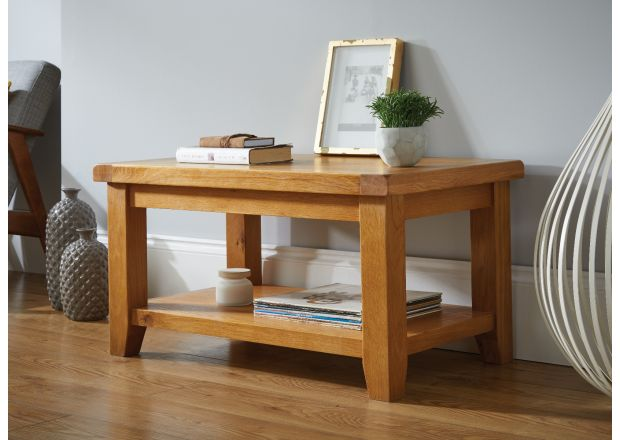 Country Oak Coffee Table with Shelf - SUMMER SALE