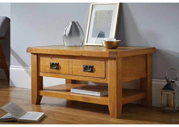 Country Oak Coffee Table with Drawer and Shelf - SUMMER SALE