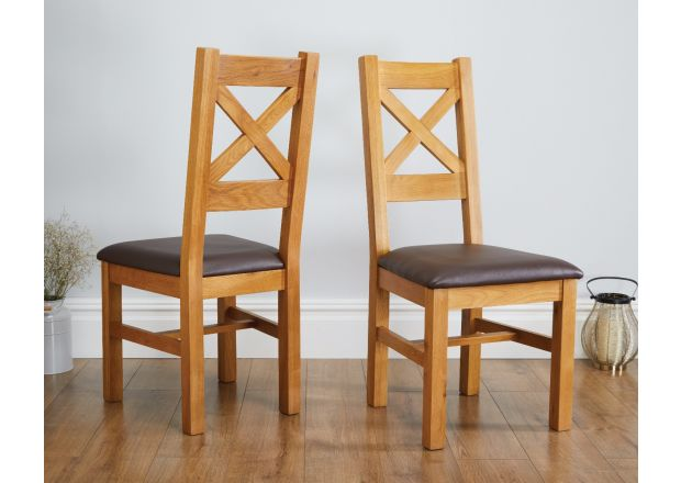 Windermere Cross Back Oak Dining Chair With Brown Leather Seat