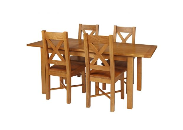 Country Oak 180cm Extending Oak Table and 4 Grasmere Timber Seat Chair Set