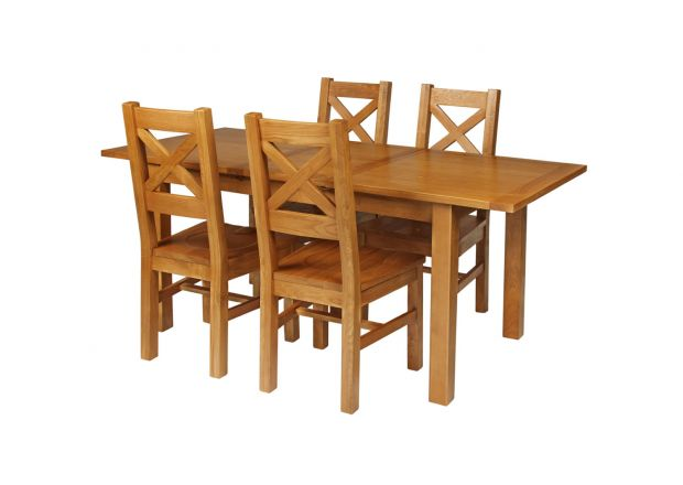 Country Oak 180cm Extending Oak Table and 4 Windermere Timber Seat Chair Set