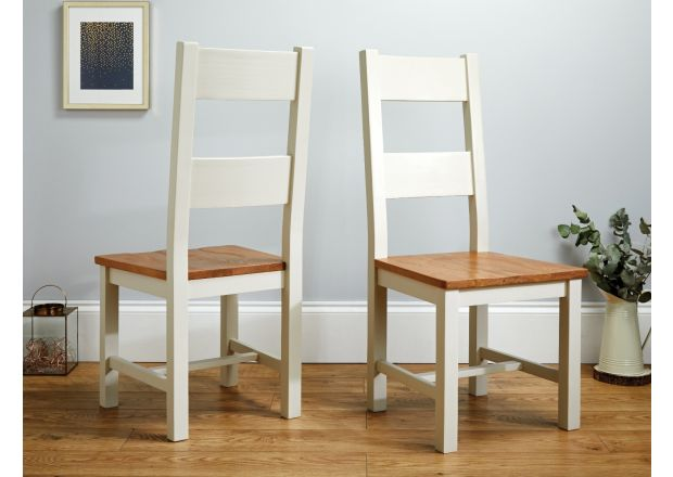 Chester Country Oak Ladder Back Grey Painted Timber Seat Dining Chair