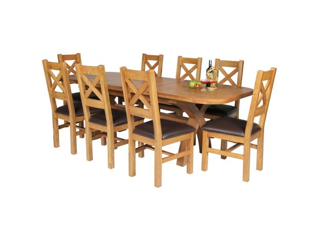 Country Oak 230cm Cross Leg Oval Table and 8 Windermere Brown Leather Chairs