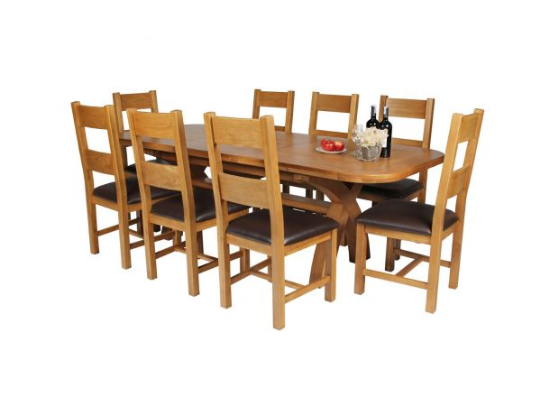 Country Oak 230cm Cross Leg Oval Table and 8 Chester Brown Leather Chairs