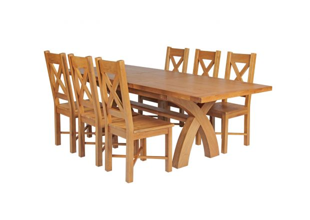 Country Oak 230cm Cross Leg Square Table and 6 Grasmere Timber Seat Chairs