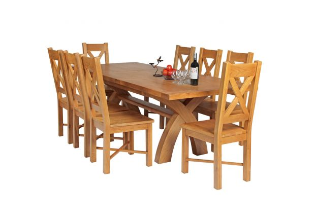 Country Oak 230cm Cross Leg Square Table and 8 Grasmere Timber Seat Chairs