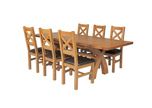 Country Oak 230cm Cross Leg Square Table and 6 Windermere Brown Leather Chairs