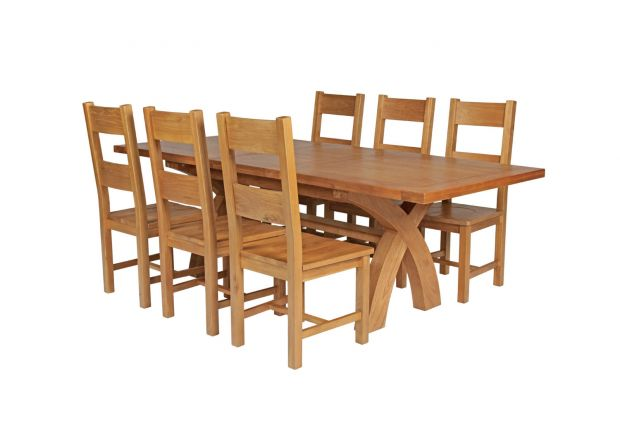 Country Oak 230cm Cross Leg Square Table and 6 Chester Timber Seat Chairs