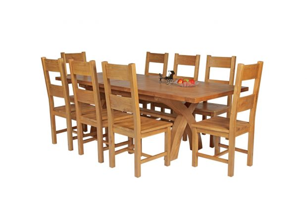 Country Oak 230cm Cross Leg Square Table and 8 Chester Timber Seat Chairs