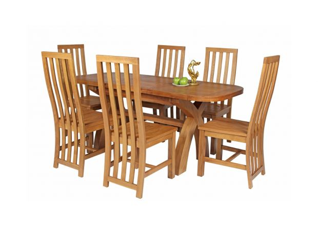Country Oak 180cm Extending Cross Leg Oval Table and 6 Dorchester Timber Seat Chairs