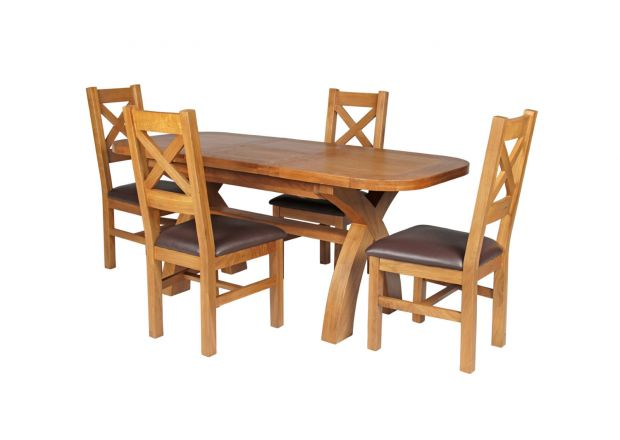 Country Oak 180cm Extending Cross Leg Oval Table and 4 Windermere Brown Leather Chairs