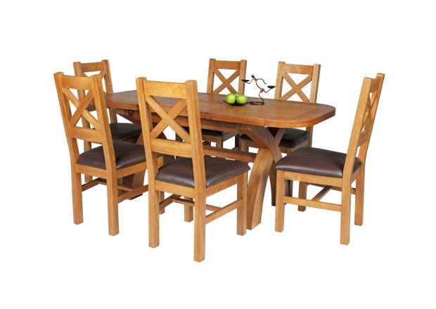 Country Oak 180cm Extending Cross Leg Oval Table and 6 Windermere Brown Leather Chairs