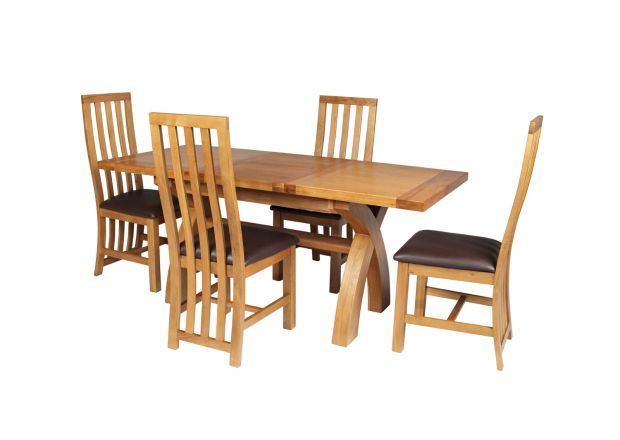 Country Oak 180cm Extending Cross Leg Square Table and 4 Dorchester Brown Leather Chairs