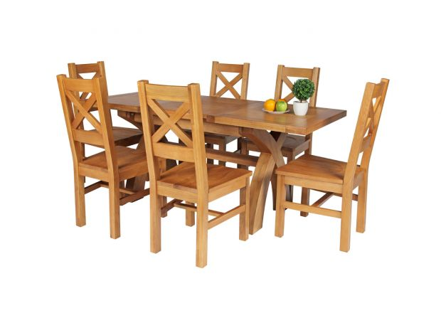 Country Oak 180cm Extending Cross Leg Square Table and 6 Windermere Timber Seat Chairs