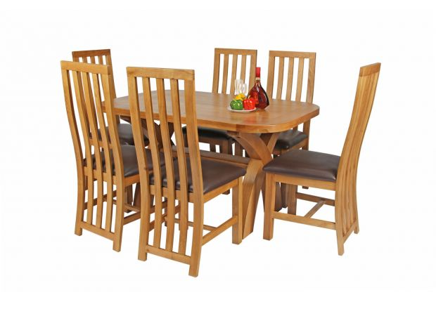 Country Oak 140cm Cross Leg Fixed Oval Table and 6 Dorchester Brown Leather Chairs