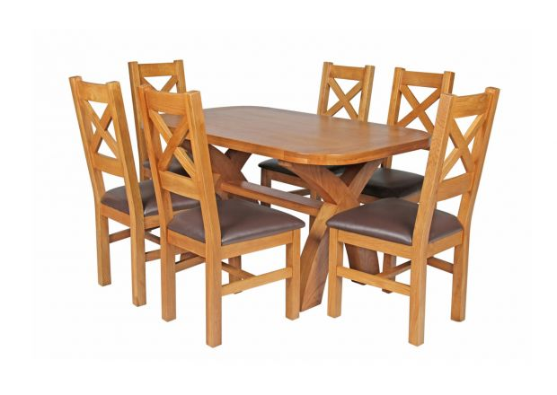 Country Oak 140cm Cross Leg Fixed Oval Table and 6 Windermere Brown Leather Chairs
