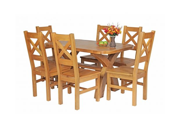Country Oak 140cm Cross Leg Fixed Oval Table and 6 Windermere Timber Seat Chairs