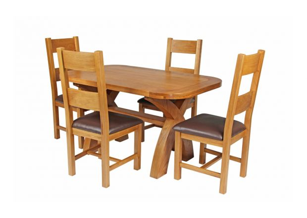 Country Oak 140cm Cross Leg Fixed Oval Table and 4 Chester Brown Leather Chairs