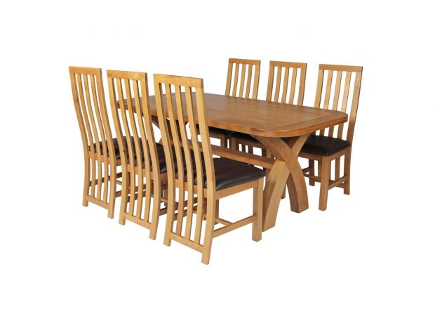 Country Oak 180cm Cross Leg Fixed Oval Table and 6 Dorchester Brown Leather Chairs