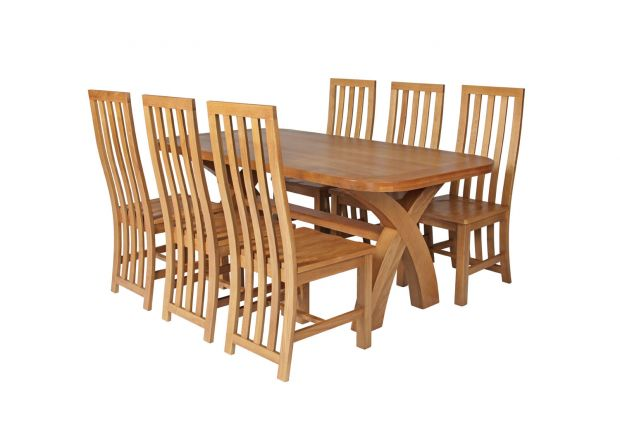 Country Oak 180cm Cross Leg Fixed Oval Table and 6 Dorchester Timber Seat Chairs