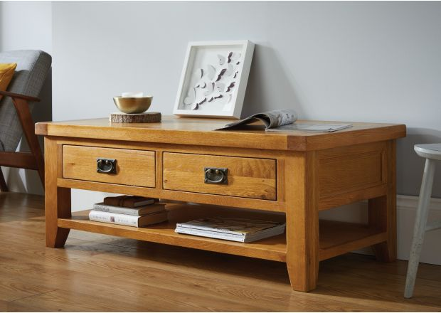 Country Oak Large 4 Drawer Coffee Table With Shelf - SUMMER SALE