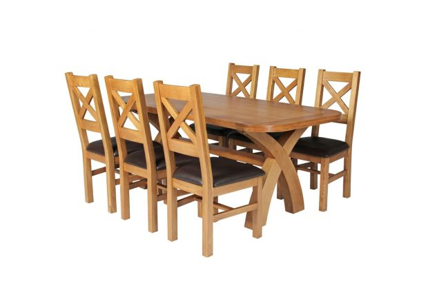 Country Oak 180cm Cross Leg Fixed Oval Table 6 Windermere Brown Leather Chairs