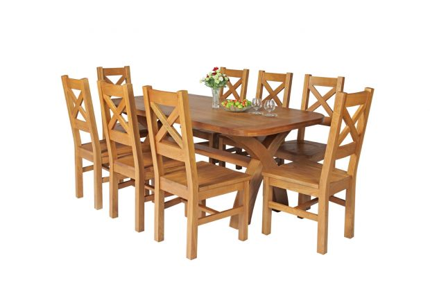 Country Oak 180cm Cross Leg Fixed Oval Table and 8 Windermere Timber Seat Chairs