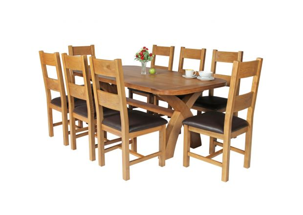 Country Oak 180cm Cross Leg Fixed Oval Table and 8 Chester Brown Leather Chairs