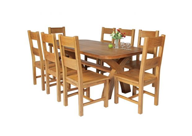 Country Oak 180cm Cross Leg Fixed Oval Table and 8 Chester Timber Seat Chairs