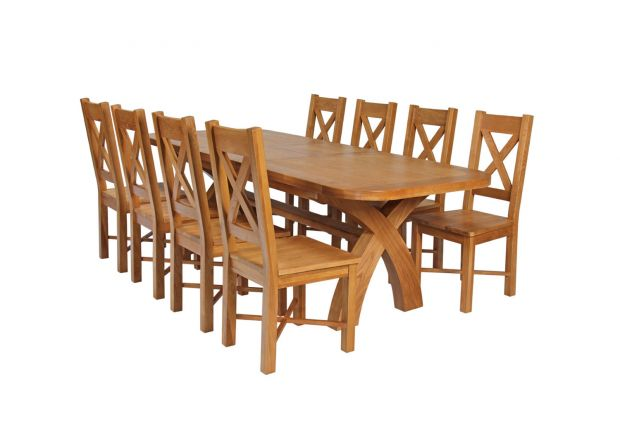 Country Oak 280cm Extending Cross Leg Oval Table and 8 Grasmere Timber Seat Chairs