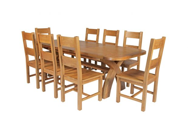 Country Oak 280cm Extending Cross Leg Oval Table and 8 Chester Timber Seat Chairs