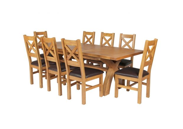 Country Oak 280cm Extending Cross Leg Square Table and 8 Windermere Brown Leather Chairs