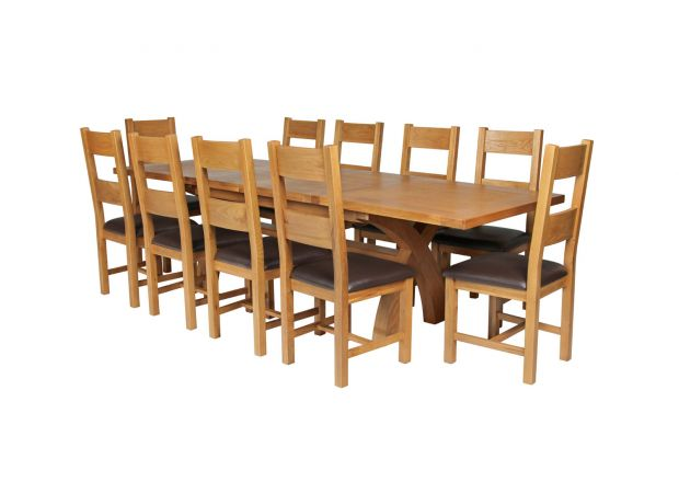 Country Oak 280cm Extending Cross Leg Square Table and 10 Chester Brown Leather Chairs